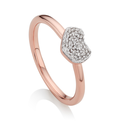 Rose Gold Vermeil Nura Mini Heart Ring - Diamond - Monica Vinader