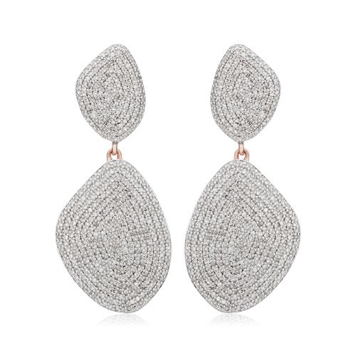 Rose Gold Vermeil Nura Double Teardrop Cocktail Earrings - Diamond - Monica Vinader