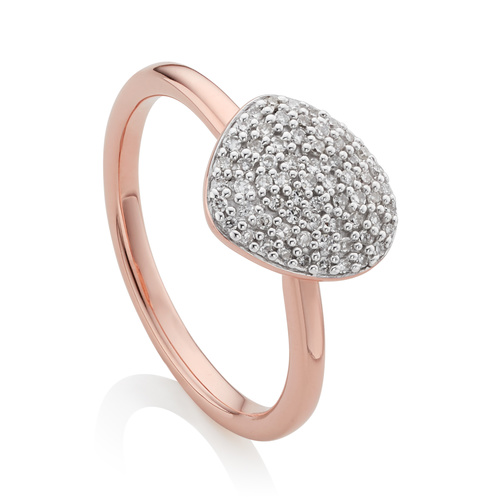 Rose Gold Vermeil Nura Small Pebble Stacking Ring - Diamond - Monica Vinader