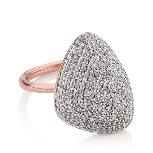 Rose Gold Vermeil Nura Teardrop Diamond Ring - Diamond - Monica Vinader