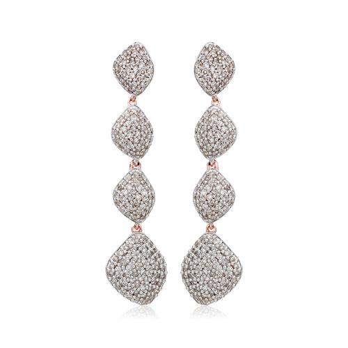 Rose Gold Vermeil Nura Teardrop Long Cocktail Earrings - Diamond - Monica Vinader