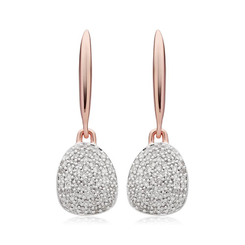 Rose Gold Vermeil Nura Small Pebble Drop Earrings - Diamond - Monica Vinader