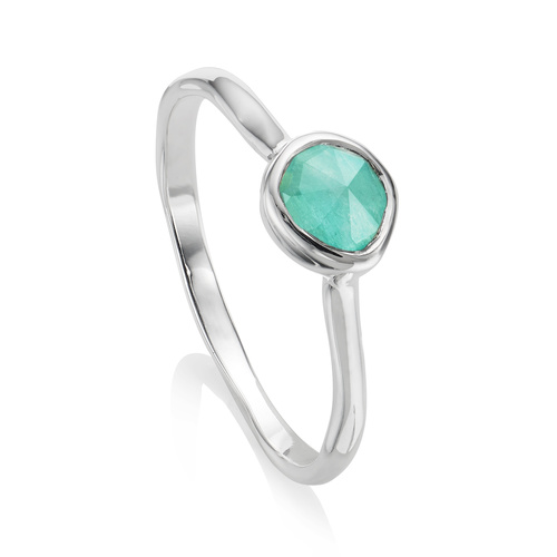 Sterling Silver Siren Small Stacking Ring - Amazonite - Monica Vinader