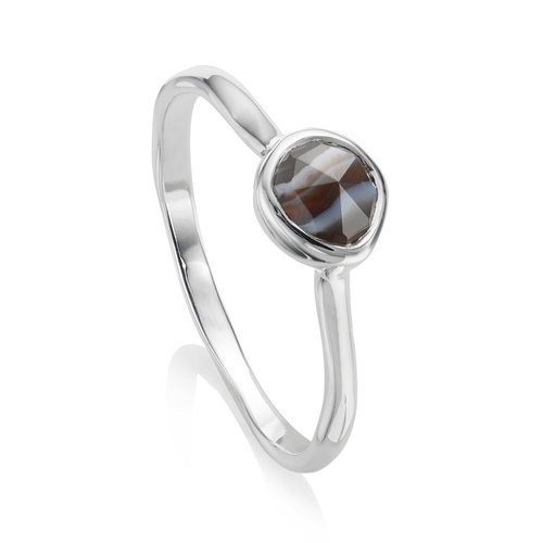 Siren Small Stacking Ring - Black Line Onyx - Monica Vinader
