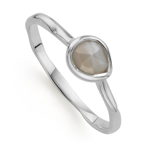 Sterling Silver Siren Small Stacking Ring - Grey Agate - Monica Vinader