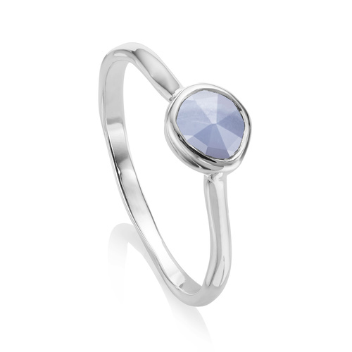 Sterling Silver Siren Small Stacking Ring - Blue Lace Agate - Monica Vinader