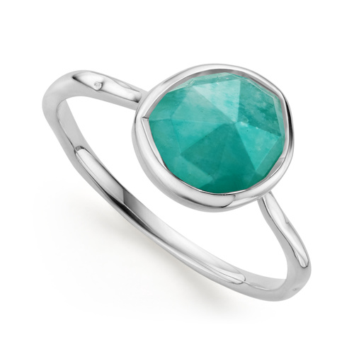 Sterling Silver Siren Stacking Ring - Amazonite - Monica Vinader
