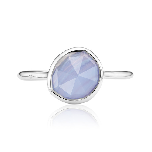 Sterling Silver Siren Stacking Ring - Blue Lace Agate - Monica Vinader
