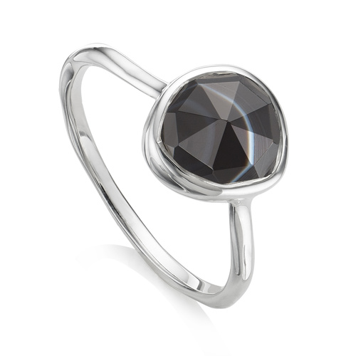Sterling Silver Siren Stacking Ring - Black Line Onyx - Monica Vinader