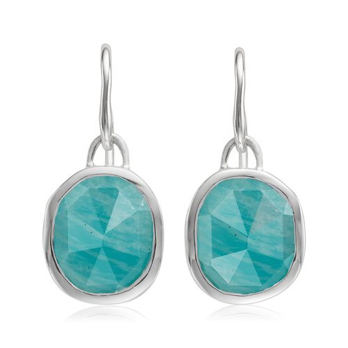Siren Wire Earrings - Amazonite - Monica Vinader