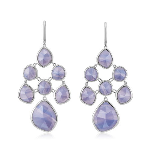 Siren Chandelier Earrings - Blue Lace Agate - Monica Vinader