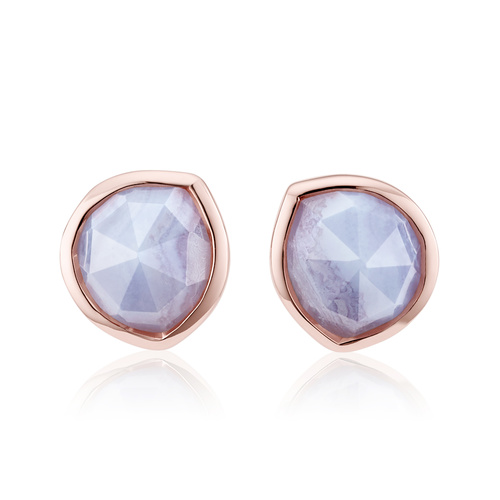 Rose Gold Vermeil Siren Stud Earrings - Blue Lace Agate - Monica Vinader