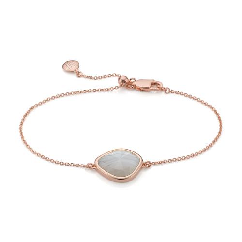 Rose Gold Vermeil Siren Nugget Bracelet - Grey Agate - Monica Vinader
