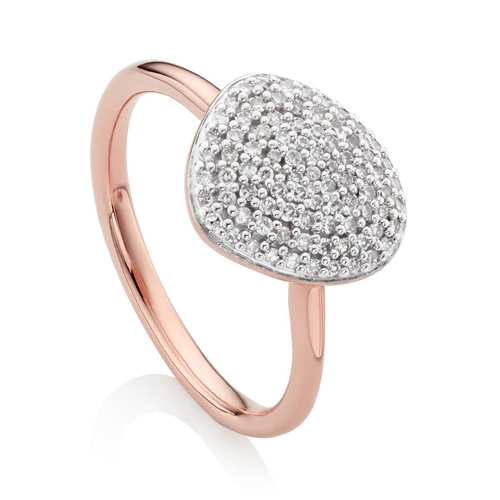 Rose Gold Vermeil Nura Pebble Stacking Diamond Ring - Diamond - Monica Vinader