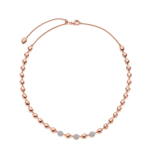 Rose Gold Vermeil Nura Teardrop Mix Link Cocktail Necklace - Diamond - Monica Vinader
