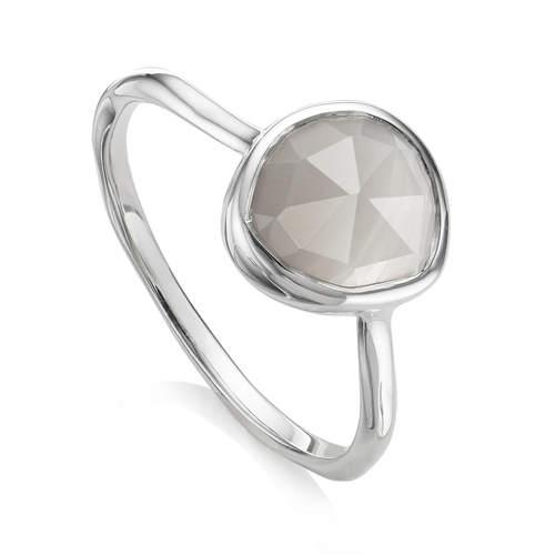Sterling Silver Siren Stacking Ring - Grey Agate - Monica Vinader