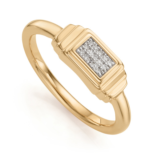 Gold Vermeil Baja Deco Ring - Diamond - Monica Vinader