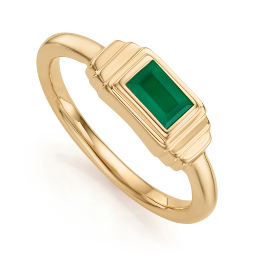 Gold Vermeil Baja Deco Ring - Green Onyx - Monica Vinader