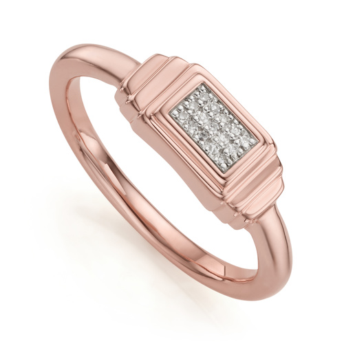 Rose Gold Vermeil Baja Deco Diamond Ring - Diamond - Monica Vinader