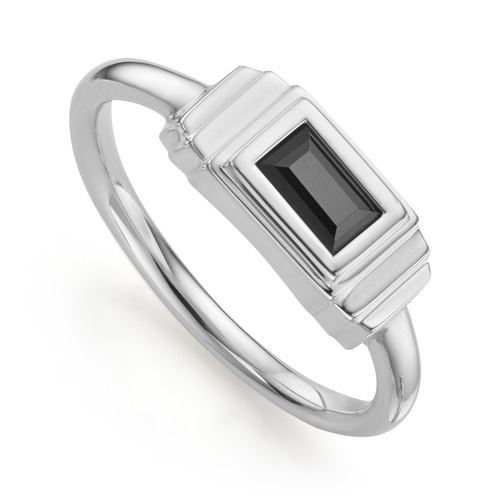 Sterling Silver Baja Deco Ring - Black Onyx - Monica Vinader