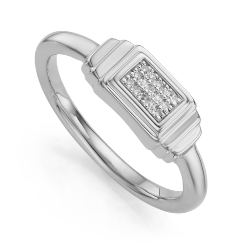 Sterling Silver Baja Deco Diamond Ring - Diamond - Monica Vinader