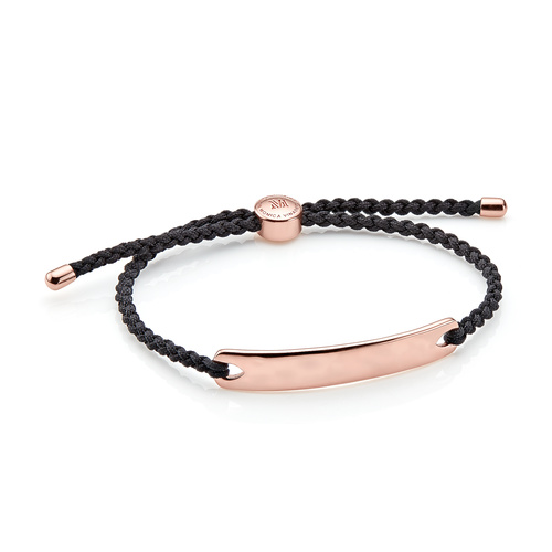 Rose Gold Vermeil Havana Men's Friendship Bracelet - Black - Monica Vinader