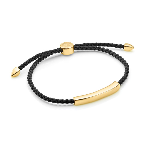 Gold Vermeil Linear Men's Friendship Bracelet - Black - Monica Vinader