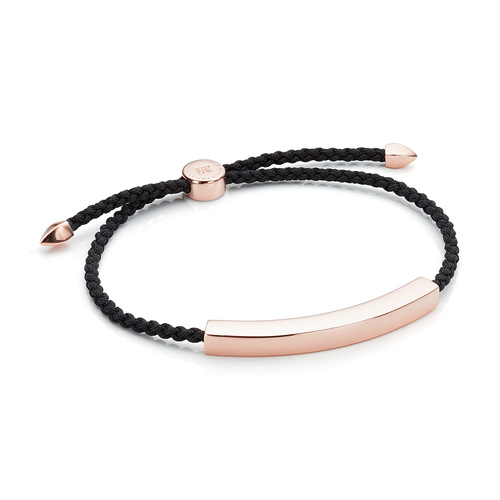 Rose Gold Vermeil Linear Large Men's Friendship Bracelet - Black - Monica Vinader