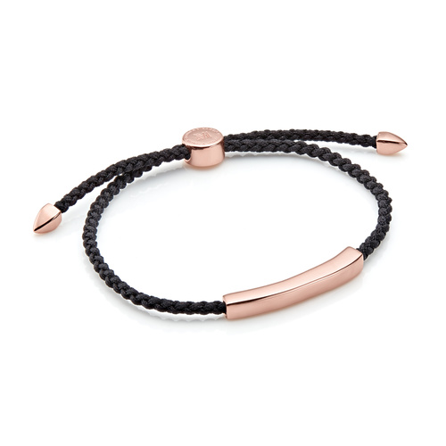 Rose Gold Vermeil Linear Men's Friendship Bracelet - Black - Monica Vinader