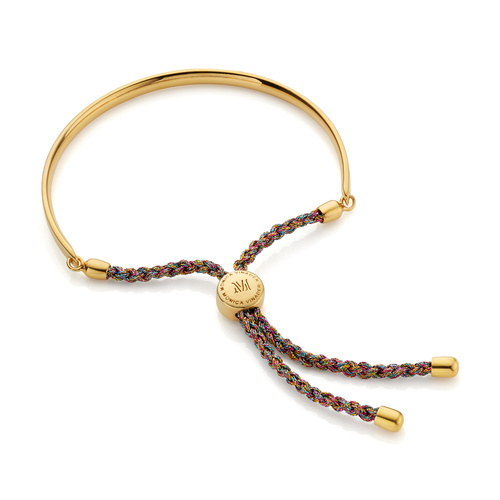 Gold Vermeil Fiji Friendship Bracelet - Rainbow Metallica - Monica Vinader