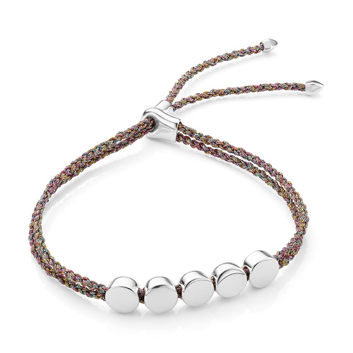Sterling Silver Linear Bead Friendship Bracelet - Rainbow Metallica - Monica Vinader