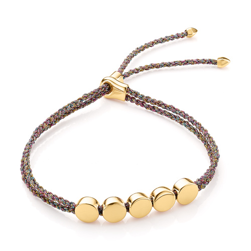 Gold Vermeil Linear Bead Friendship Bracelet - Rainbow Metallica - Monica Vinader