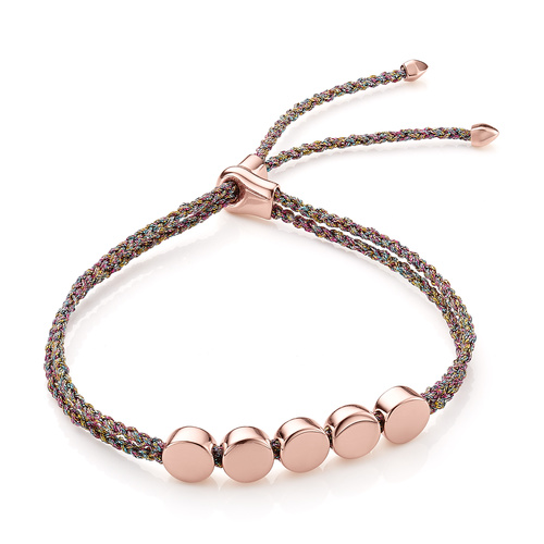 Rose Gold Vermeil Linear Bead Friendship Bracelet - Rainbow Metallica - Monica Vinader