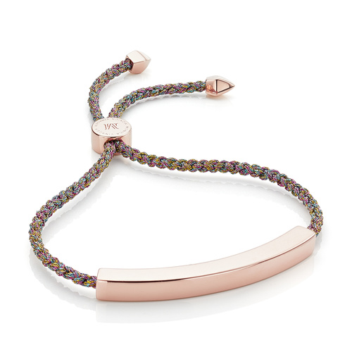Rose Gold Vermeil Linear Large Friendship Bracelet - Women's - Rainbow Metallica - Monica Vinader