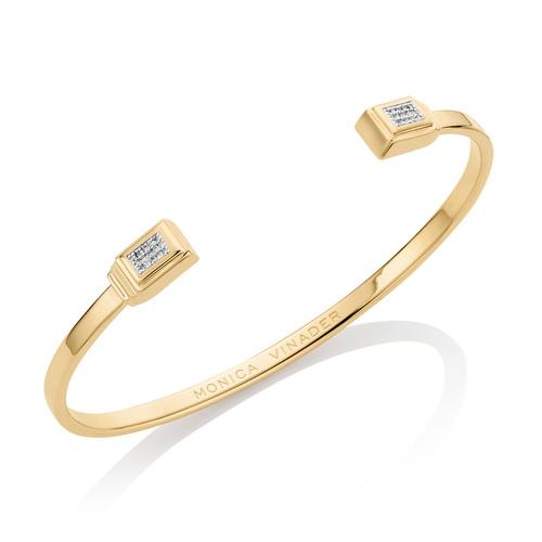 Gold Vermeil Baja Deco Thin Diamond Cuff - Diamond - Monica Vinader