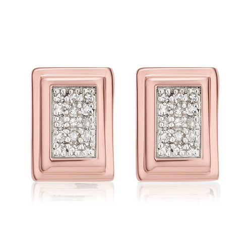 Rose Gold Vermeil Baja Deco Stud Diamond Earrings - Diamond - Monica Vinader