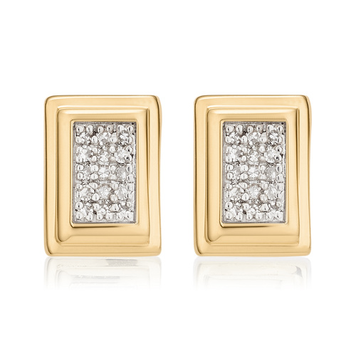 Gold Vermeil Baja Deco Stud Diamond Earrings - Diamond - Monica Vinader