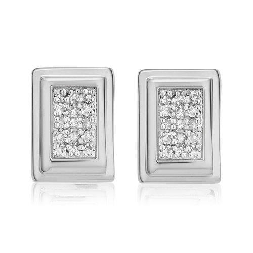 Sterling Silver Baja Deco Stud Diamond Earrings - Diamond - Monica Vinader