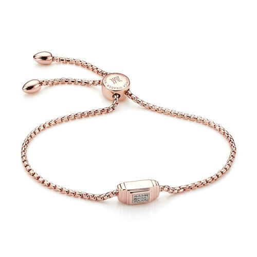 Rose Gold Vermeil Baja Deco Diamond Bracelet - Diamond - Monica Vinader