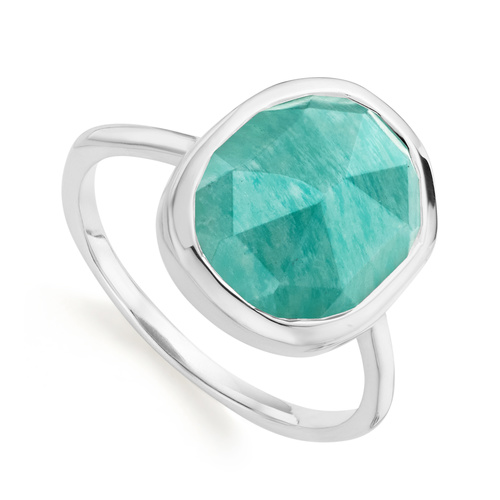 Sterling Silver Siren Medium Stacking Ring - Amazonite - Monica Vinader
