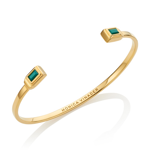 Gold Vermeil Baja Deco Thin Cuff - Large - Green Onyx - Monica Vinader