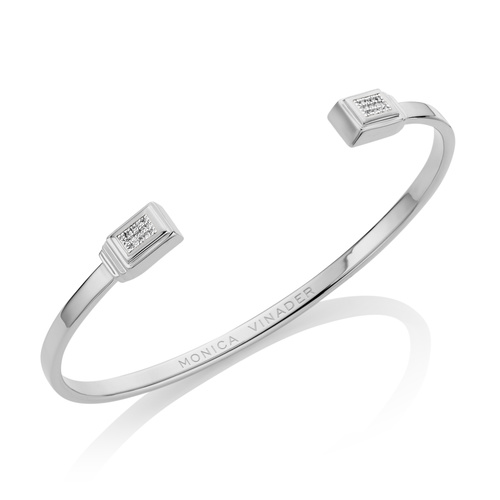 Sterling Silver Baja Deco Thin Diamond Cuff - Small - Diamond - Monica Vinader