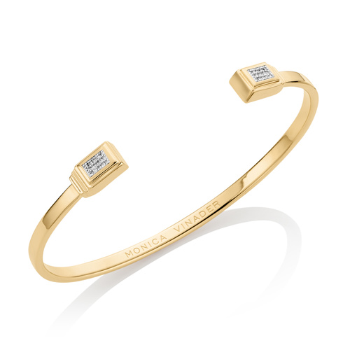 Gold Vermeil Baja Deco Thin Diamond Cuff - Large - Diamond - Monica Vinader