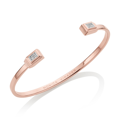 Rose Gold Vermeil Baja Deco Thin Cuff - Large - Diamond - Monica Vinader