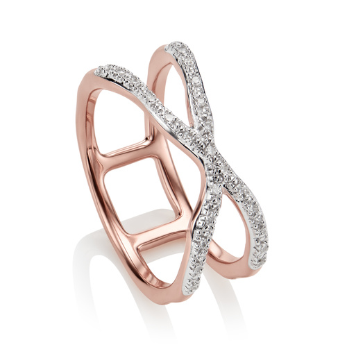 Rose Gold Vermeil Riva Wave Cross Ring - Diamond - Monica Vinader