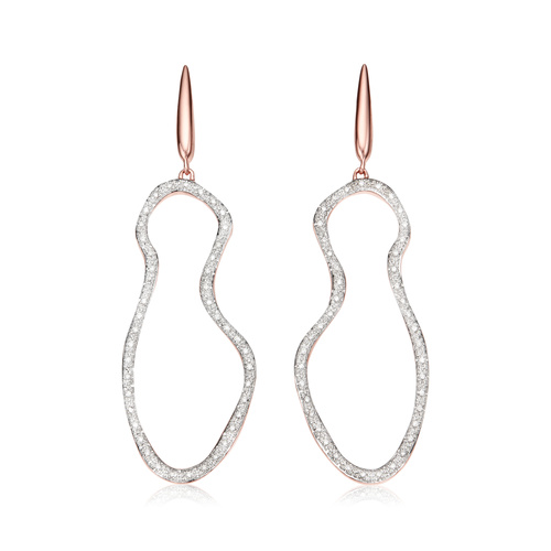 Rose Gold Vermeil Riva Pod Cocktail Earrings - Diamond - Monica Vinader