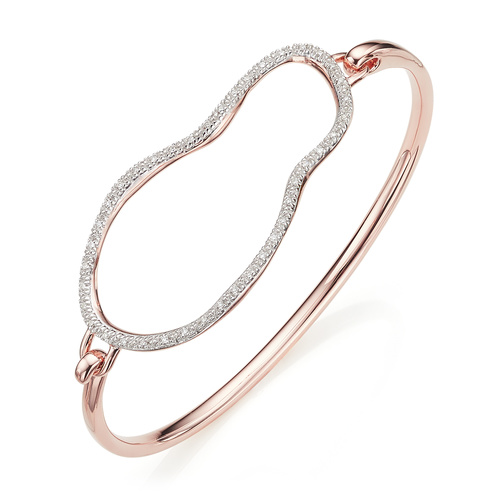 Rose Gold Vermeil Riva Large Pod Hook Bangle - Medium - Diamond - Monica Vinader