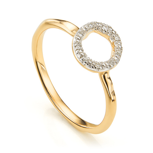 Gold Vermeil Riva Mini Circle Stacking Ring - Diamond - Monica Vinader