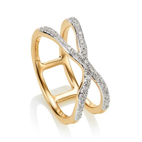 Gold Vermeil Riva Wave Cross Ring - Diamond - Monica Vinader