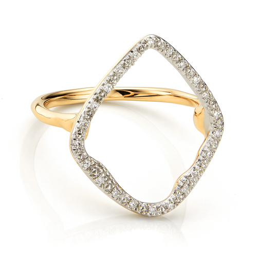 Gold Vermeil Riva Hoop Cocktail Ring - Diamond - Monica Vinader